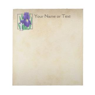 Personalized I for Irises Flower Monogram Notepad