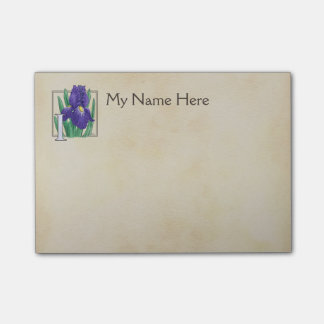 Personalized I for Irises Flower Monogram Post-it Notes