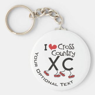 Personalized I heart love Cross Country Running XC Keychain