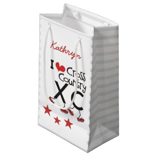 Personalized I heart love Cross Country Running XC Small Gift Bag