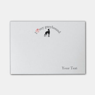 "Personalized ""I heart my greyhound"" Post-it Notes"