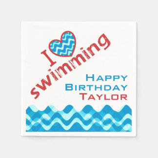 Personalized I Heart Swimming Party Supplies Paper Napkin