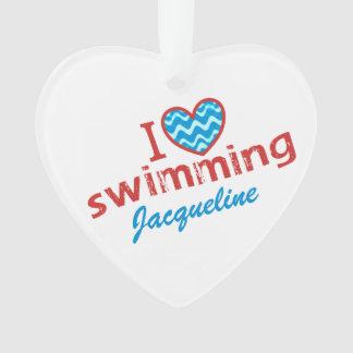 Personalized I love (heart) Swimming Ornament
