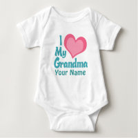 Personalized I Love My Grandma Baby Bodysuit