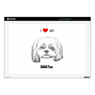 "Personalized I Love My Shih Tzu Pencil Sketch 17"" Laptop Decal"