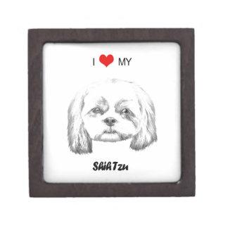 Personalized I Love My Shih Tzu Pencil Sketch Jewelry Box