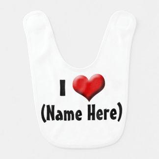 Personalized I Love... Name Valentine's Day Bib