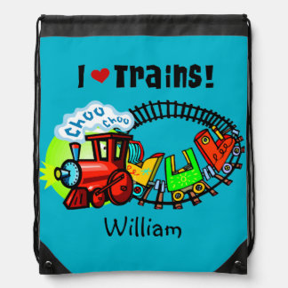 Personalized I Love Trains Drawstring Bag