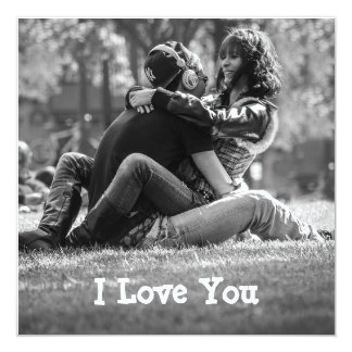"Personalized  ""I Love You"" Photo Border Card"