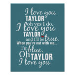Personalized I Love You Song Poster