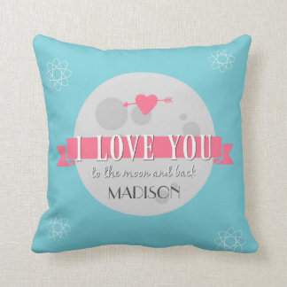 Personalized I Love You to the Moon and Back Throw Pillow
