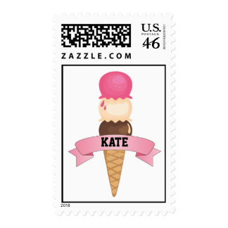 Personalized Ice Cream Cone Postage Stamps