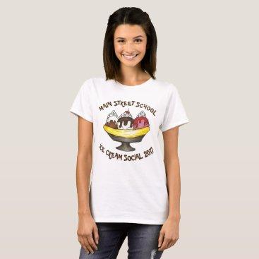 Beach Themed Personalized Ice Cream Social Party Banana Split T-Shirt
