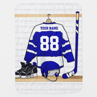 Personalized Ice Hockey Jersey Receiving Blanket
