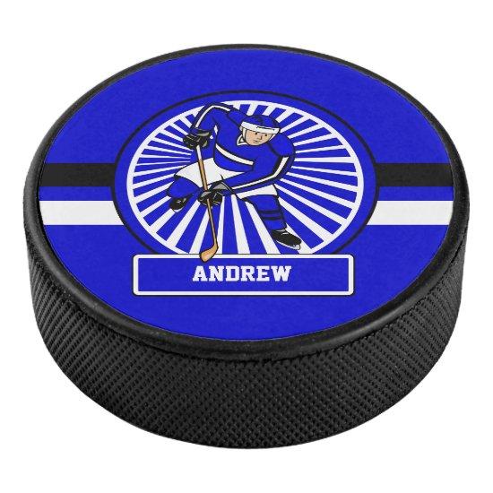 Personalized Ice Hockey Player Blue Hockey Puck