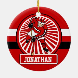 Personalized Ice Hockey player Ceramic Ornament