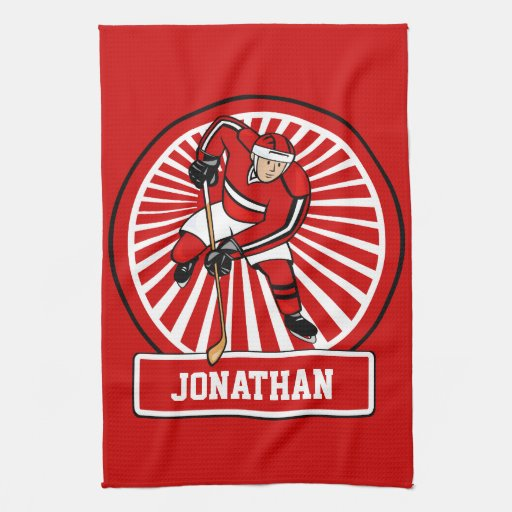 Personalized Hockey Towels: Personalized Ice Hockey Player Hand Towel