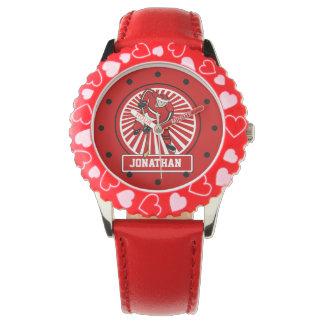 Personalized Ice Hockey Player Red Wrist Watch