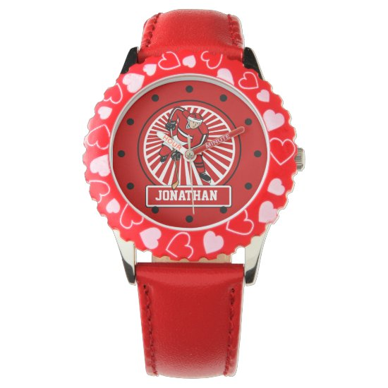 Personalized Ice Hockey Player Red Wrist Watch