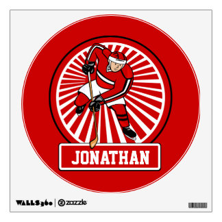 Personalized Ice Hockey player Wall Decal