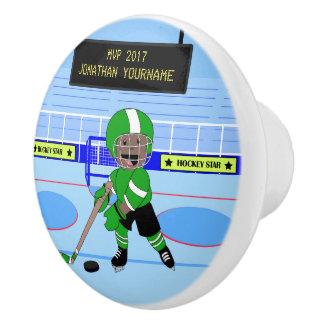 Personalized Ice Hockey star Ceramic Knob