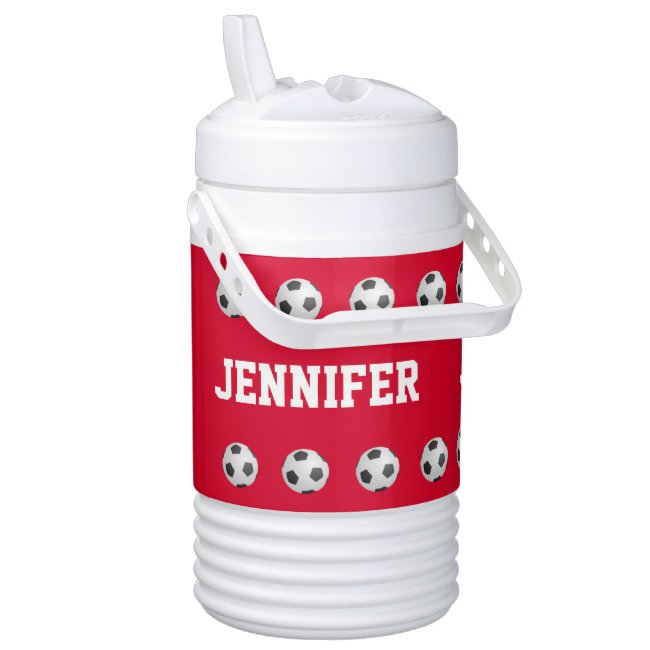 Personalized Igloo Beverage Cooler Soccer Red