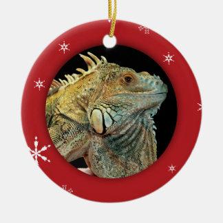 Personalized Iguana/Pet Photo Holiday Ceramic Ornament