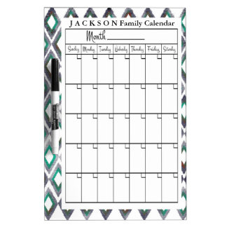 Personalized Ikat Calendar Dry Erase Board