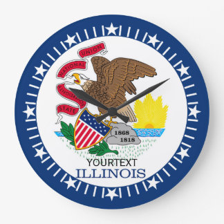 Personalized Illinois State Flag Design on Large Clock