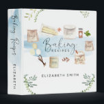 """Personalized Illustrated Watercolor Baking Recipes 3 Ring Binder<br><div class=""""desc"""">After making a chocolate cake with my granddaughter, I thought she might like a recipe binder to collect favorite recipes in as she grows up. She loved the idea, and this is the binder I created for her, the little baker. I hope you like it as much as we do!...</div>"""
