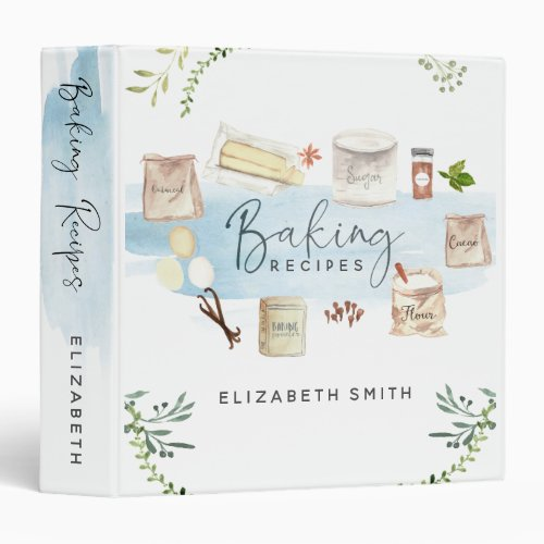 Personalized Illustrated Watercolor Baking Recipes 3 Ring Binder