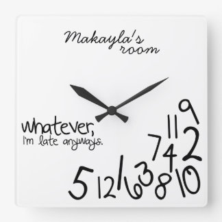 personalized - i'm late anyways square wallclock