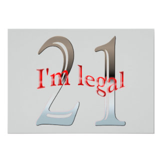 Personalized I'm Legal Funny 21st Birthday Party Card