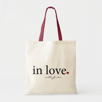 Personalized In Love tote bag with name, heart bag