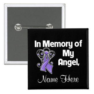 Personalized In Memory of My Angel Uterine Cancer 2 Inch Square Button
