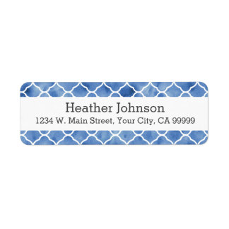 Personalized Indigo Blue Moroccan Pattern Label