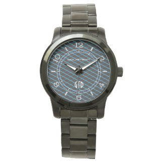Personalized Industrial Mesh Blue Pearl Metallic Wrist Watches
