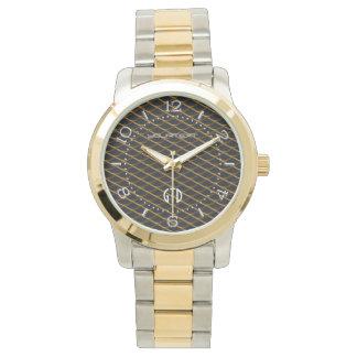 Personalized Industrial Steel Mesh Golden Pearl Watch
