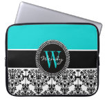 Personalized Initial Aqua Black Damask Computer Sleeves