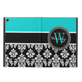 Personalized Initial Aqua Black Damask iPad Air Cases
