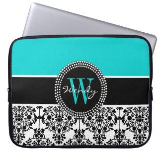 Personalized Initial Aqua Black Damask Laptop Sleeve