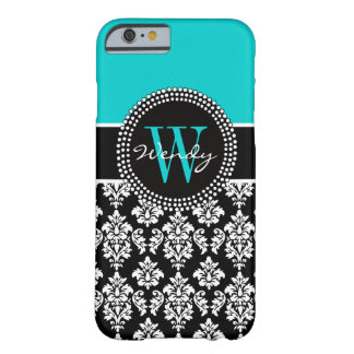 Personalized Initial Aqua Black Damask Pattern Barely There iPhone 6 Case