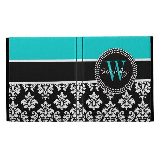 Personalized Initial Aqua Black Damask Pattern iPad Folio Cover