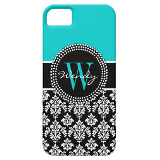 Personalized Initial Aqua Black Damask Pattern iPhone 5 Covers