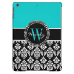 Personalized Initial Aqua Black Damask Pattern iPad Air Cover
