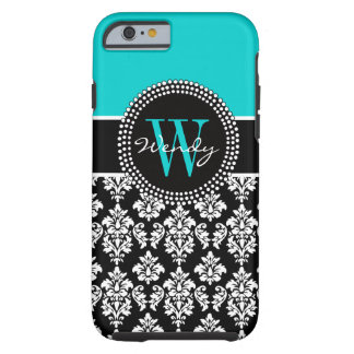 Personalized Initial Aqua Black Damask Pattern Tough iPhone 6 Case