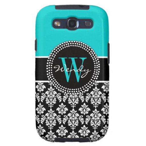 Personalized Initial Aqua Black Damask Pattern Galaxy SIII Case