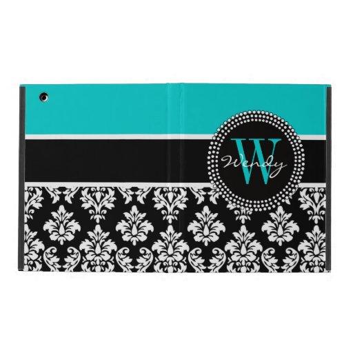Personalized Initial Aqua Black Damask Pattern iPad Case