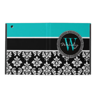 Personalized Initial Aqua Black Damask Pattern iPad Folio Case
