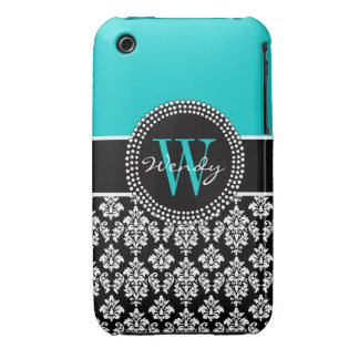 Personalized Initial Aqua Black Damask Pattern iPhone 3 Case
